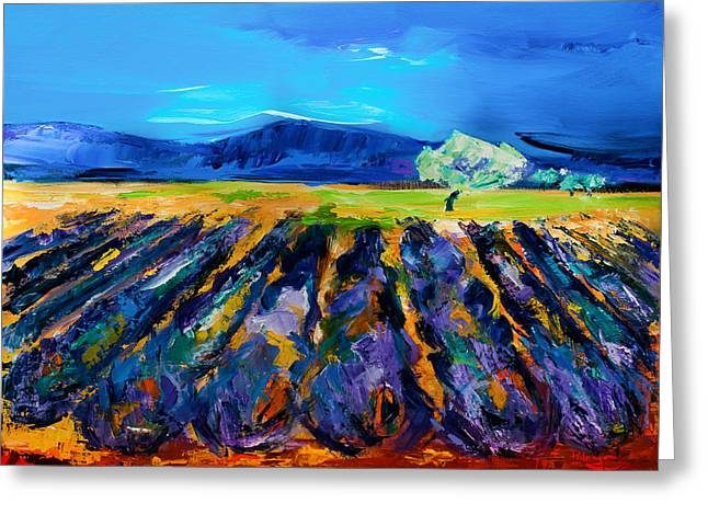 Greeting Card featuring the painting Lavender Field by Elise Palmigiani