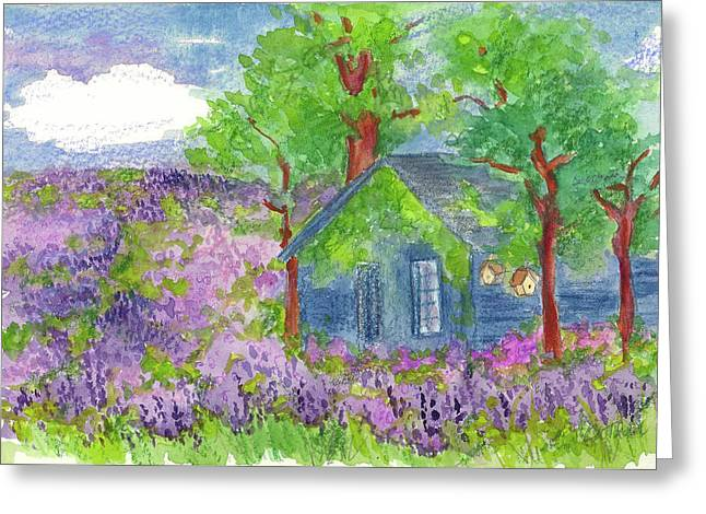 Greeting Card featuring the painting Lavender Fields by Cathie Richardson