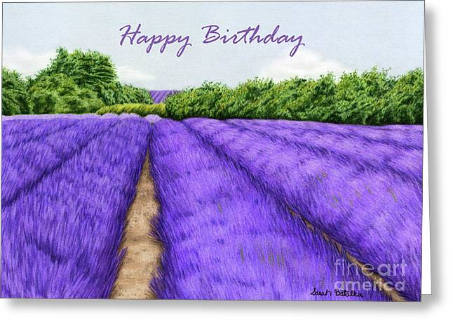 Lavender Fields- Happy Birthday Cards Greeting Card by Sarah Batalka