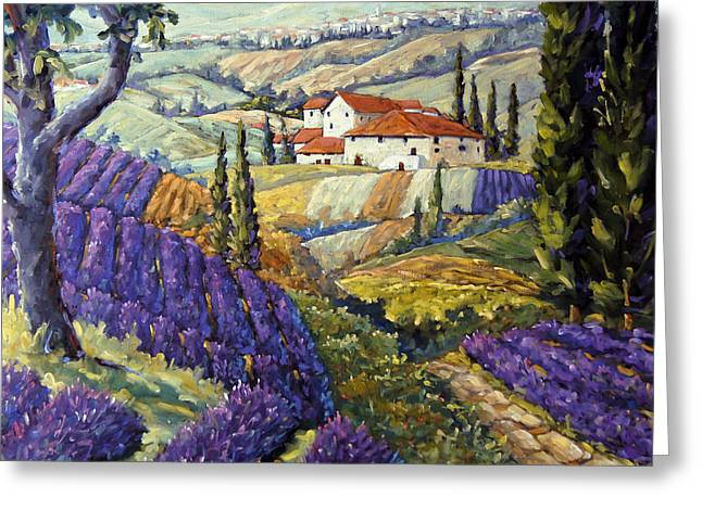 Lavender Fields Tuscan By Prankearts Fine Arts Greeting Card by Richard T Pranke