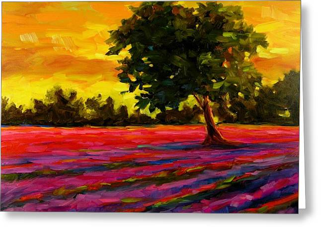 Greeting Card featuring the painting Lavender Fire by Chris Brandley
