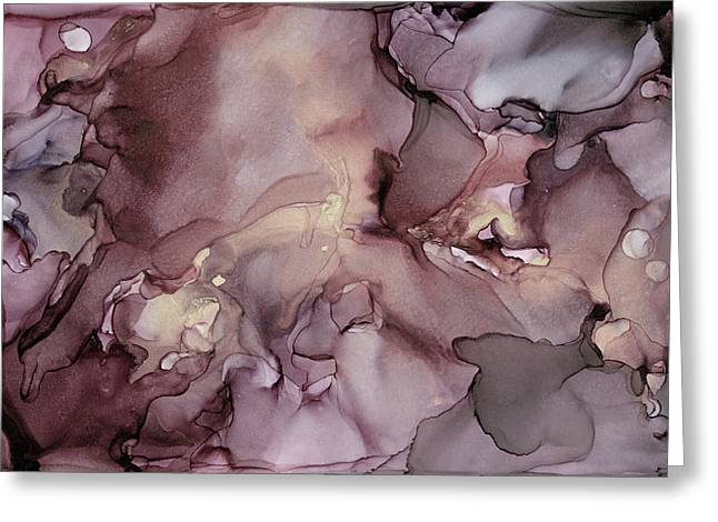 Lavender Gold Swirls Ink Abstract Painting Greeting Card