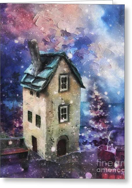 Lavender Hill Greeting Card by Mo T