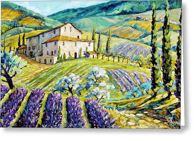 Lavender Hills Tuscany By Prankearts Fine Arts Greeting Card by Richard T Pranke