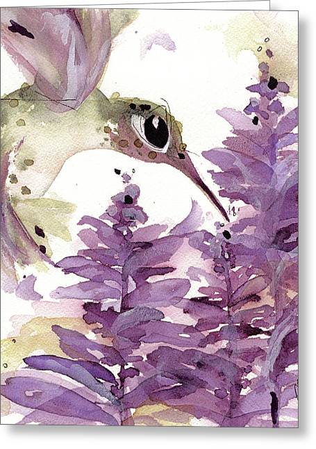 Greeting Card featuring the painting Lavender Hummer by Dawn Derman