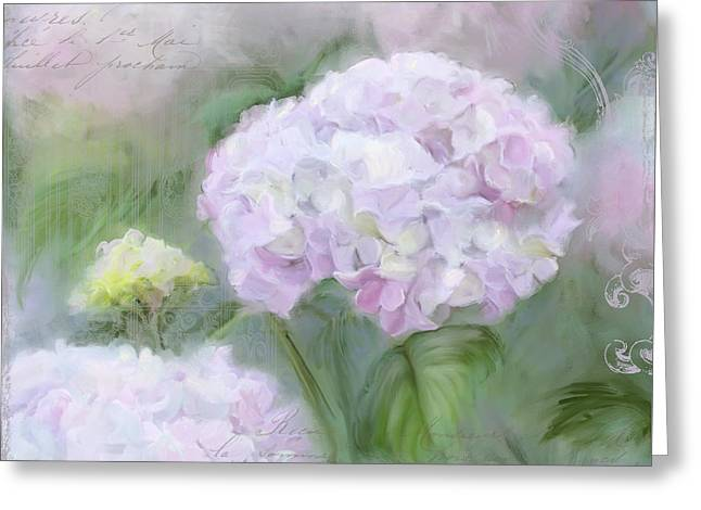 Lavender Hydrangea Romantic Garden Greeting Card by Audrey Jeanne Roberts