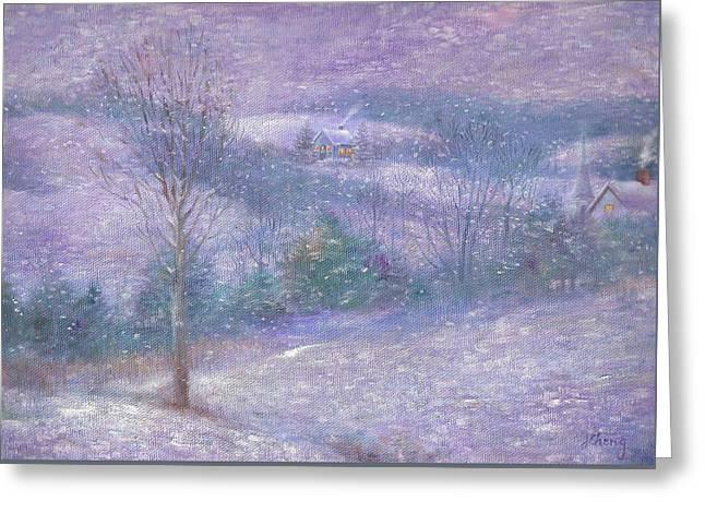Lavender Impressionist Snowscape Greeting Card