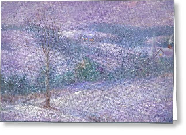 Greeting Card featuring the painting Lavender Impressionist Snowscape by Judith Cheng