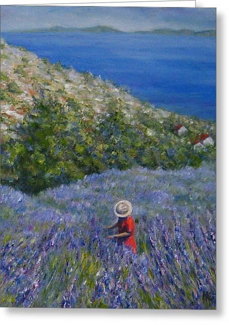 Lavender In Full  Bloom Greeting Card by Mirjana Gotovac