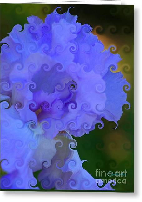 Lavender Curlicue Iris  Greeting Card