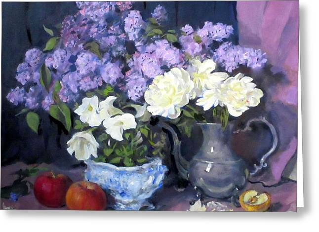 Lavender Lilacs, White Peonies, White Lisianthus, Greeting Card