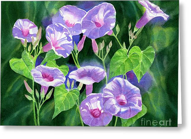 Lavender Morning Glories With Background Greeting Card by Sharon Freeman