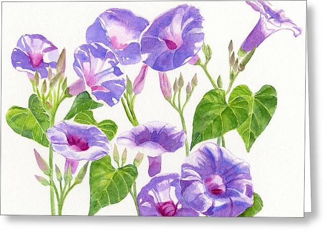 Lavender Morning Glory Flowers Square Design Greeting Card by Sharon Freeman
