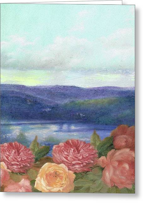 Lavender Morning With Roses Greeting Card