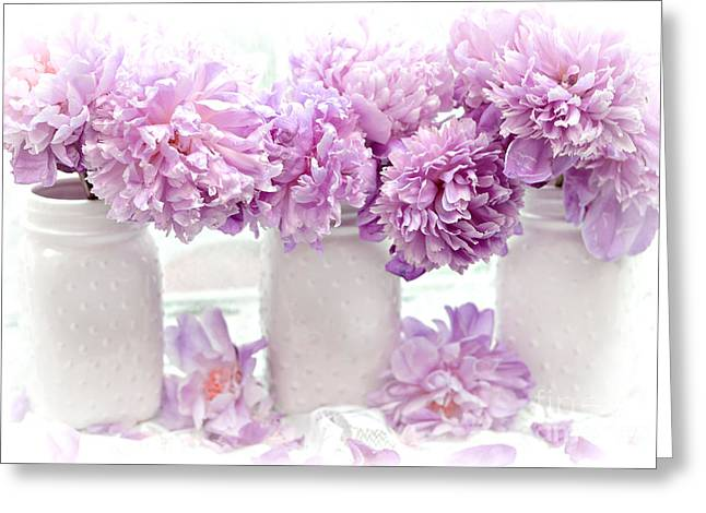 Lavender Peonies White Mason Jars - Romantic Shabby Chic Lavender Purple Peonies Mason Jars Greeting Card