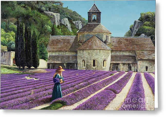 Picking Paintings Greeting Cards - Lavender Picker - Abbaye Senanque - Provence Greeting Card by Trevor Neal