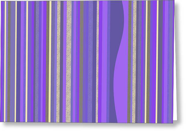 Greeting Card featuring the digital art Lavender Random Stripe Abstract by Val Arie