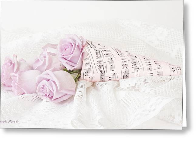 Lavender Roses And Music Greeting Card