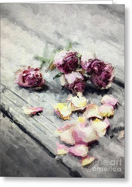Lavender Roses And Petals Greeting Card by Amy Cicconi