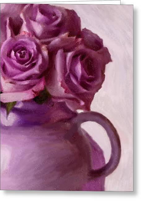 Lavender Roses And Tea Pot Greeting Card by Sandra Foster