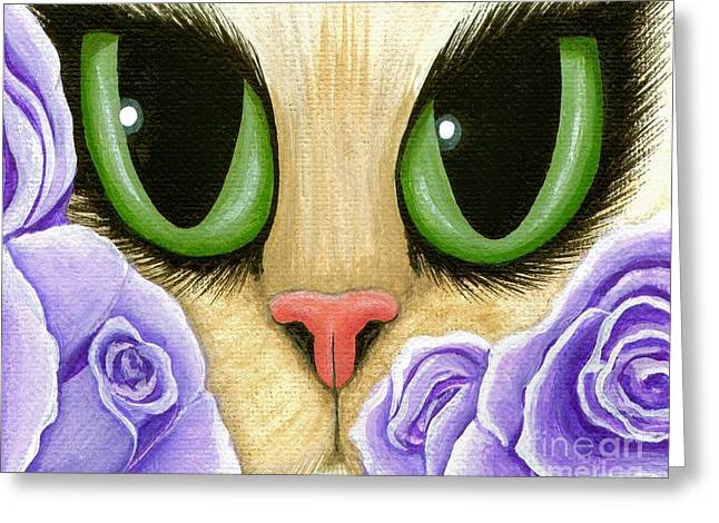 Lavender Roses Cat - Green Eyes Greeting Card by Carrie Hawks