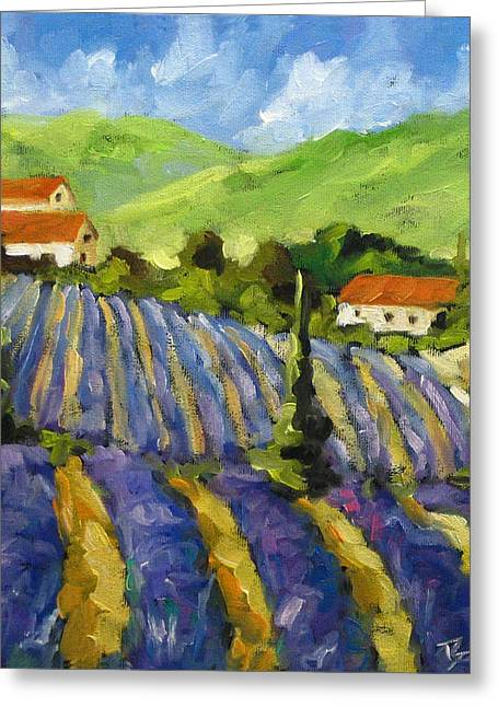 Lavender Scene Greeting Card by Richard T Pranke
