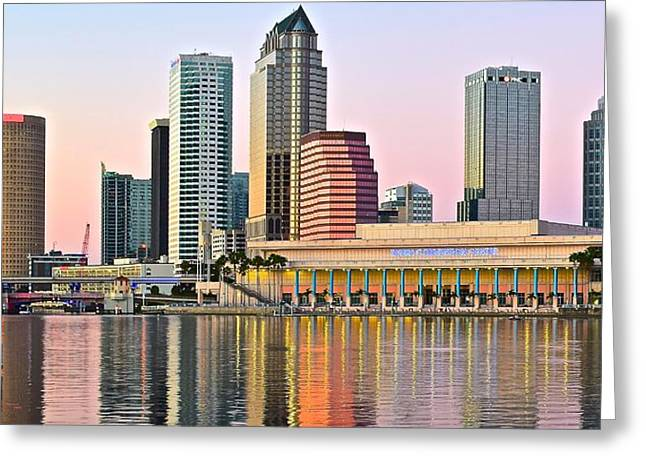 Lavender Tampa Skyline Greeting Card by Frozen in Time Fine Art Photography