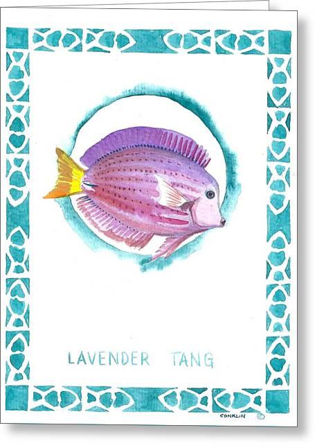 Lavender Tang Reef Fish  Greeting Card by Cynthia Conklin