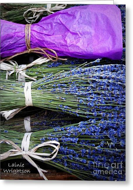 Lavender Tied With A Bow Greeting Card by Lainie Wrightson