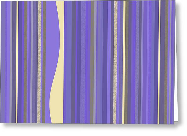 Greeting Card featuring the digital art Lavender Twilight - Stripes by Val Arie
