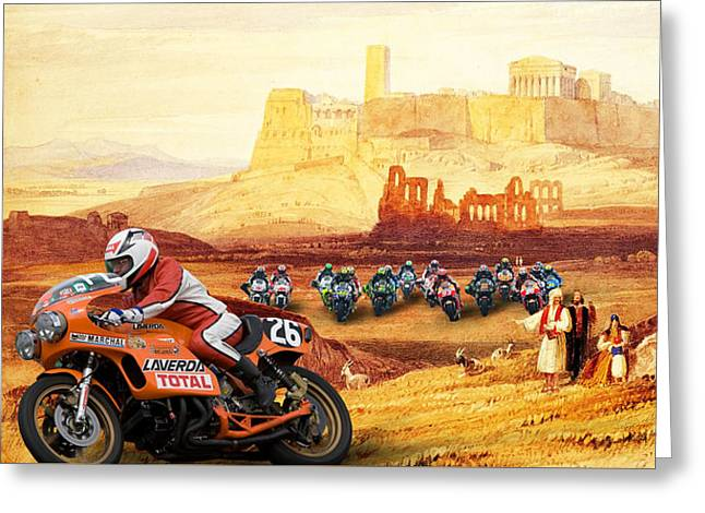 Laverda 26 Pole Position On A Athens Classic Painting Greeting Card