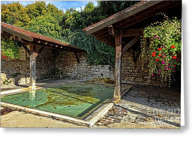 Lavoir With Flowers Greeting Card