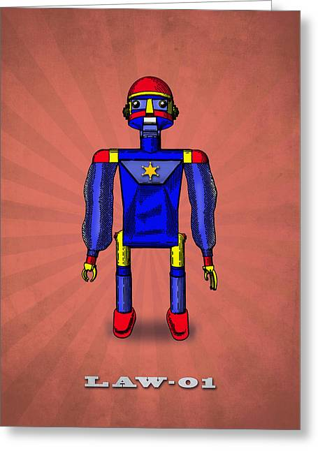 Law 01 Robot Greeting Card by Mark Rogan