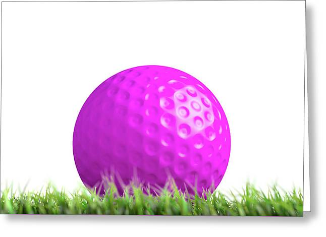 Lawn Hockey Ball Resting On Grass Greeting Card