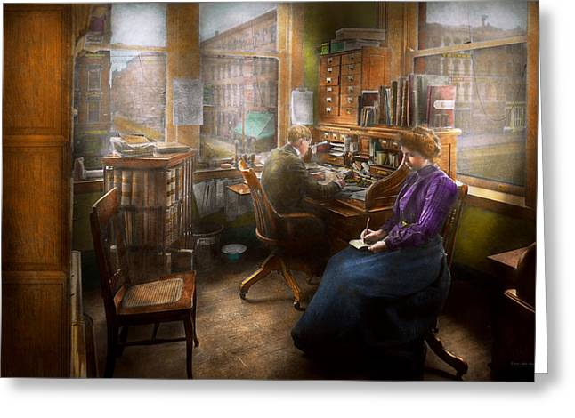 Lawyer - Always Taking Notes - 1902 Greeting Card by Mike Savad