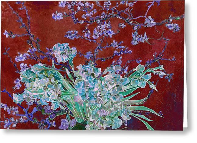 Greeting Card featuring the digital art Layered 5 Van Gogh by David Bridburg