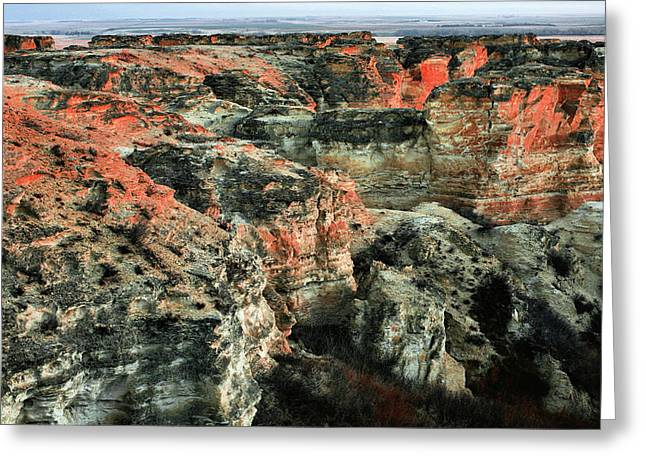 Greeting Card featuring the photograph Layers In The Kansas Badlands by Kyle Findley