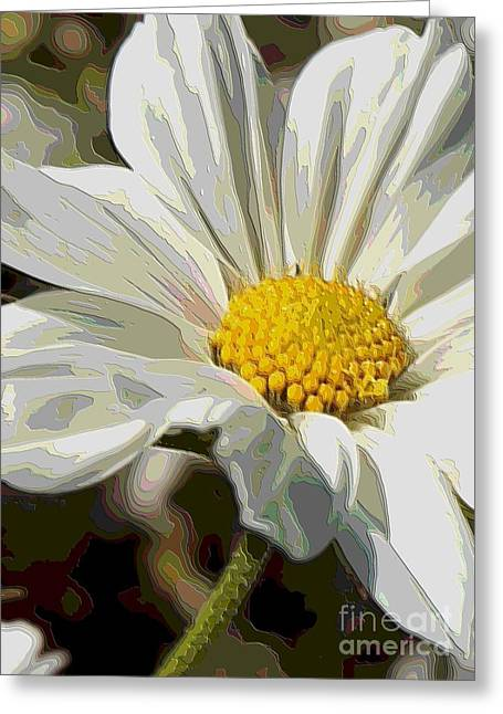 Layers Of A White Cosmos Flower - Digital Art Greeting Card