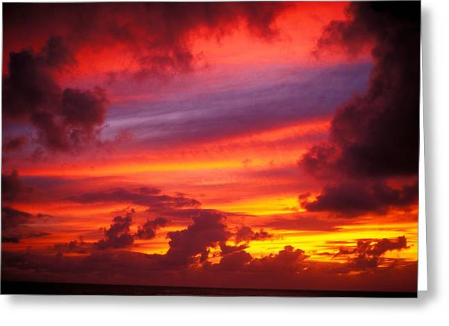 Layers Of Sunset Greeting Card by Vince Cavataio - Printscapes