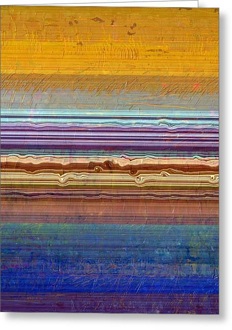 Layers With Orange And Blue Greeting Card by Michelle Calkins