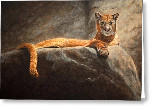 Laying Cougar Greeting Card