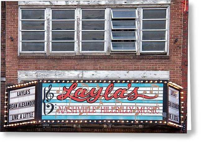 Layla's In Nashville Greeting Card by Mike Burgquist