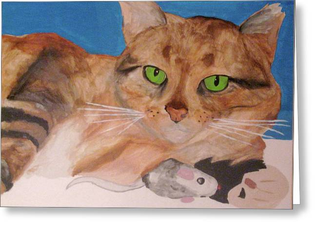 Greeting Card featuring the painting Laze About by Rebecca Wood