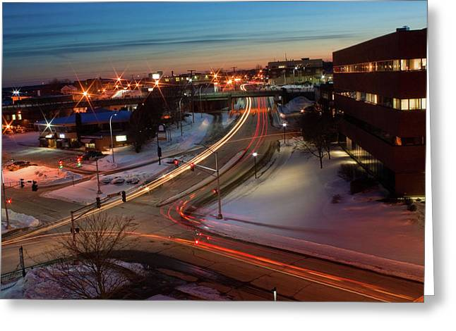 Greeting Card featuring the photograph Lazer Lights In Bangor by Greg DeBeck