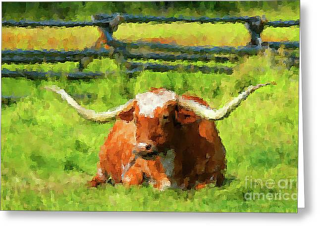 Lazing Longhorn Greeting Card