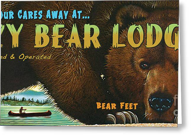 Lazy Bear Lodge Sign Greeting Card by Wayne McGloughlin