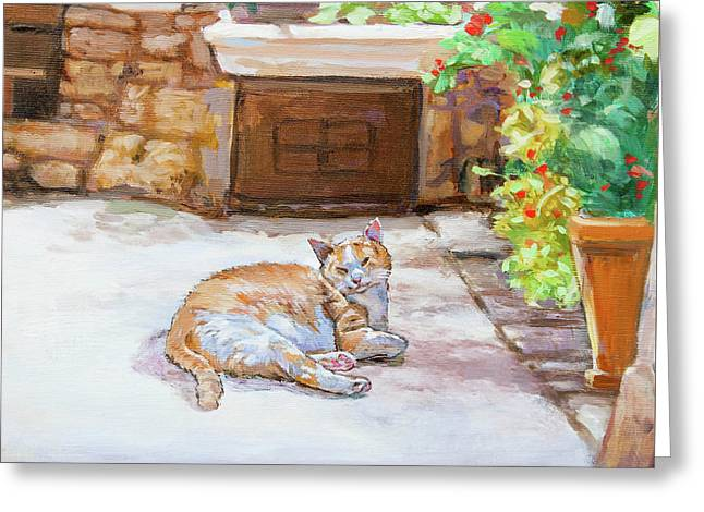 Lazy Cat Greeting Card by Dominique Amendola