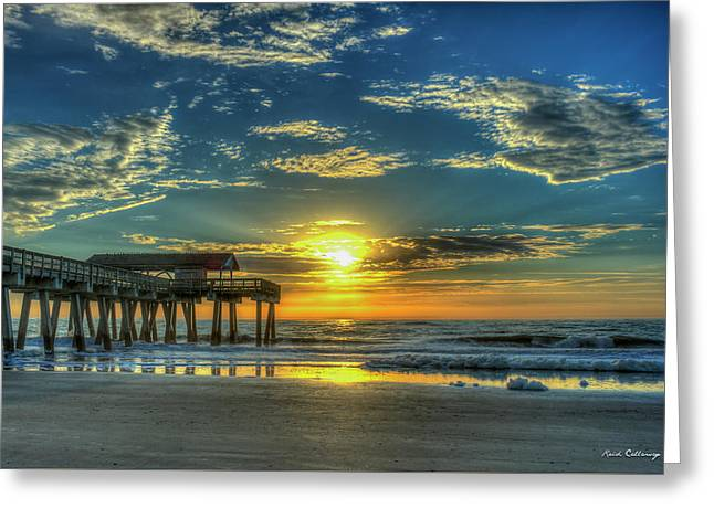 Greeting Card featuring the photograph Lazy Days Of Summer Sunrise Tybee Island Pier Art by Reid Callaway