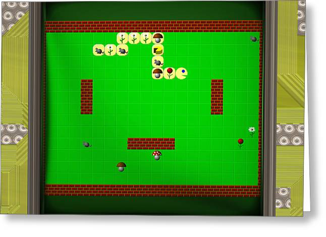 Lcd Screen With Retro Style Game Generated Texture Greeting Card