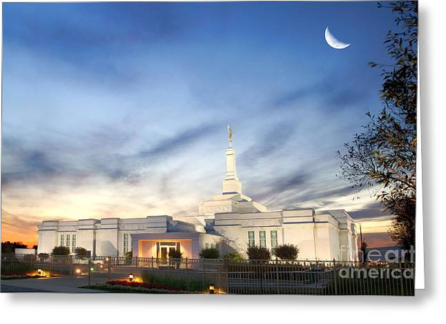 Lds Montreal Temple At Twilight Greeting Card